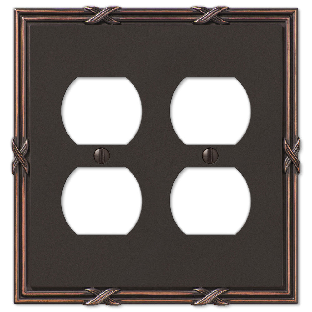 Ribbon & Reed Aged Bronze Cast - 2 Duplex Outlet Wallplate - Wallplate Warehouse