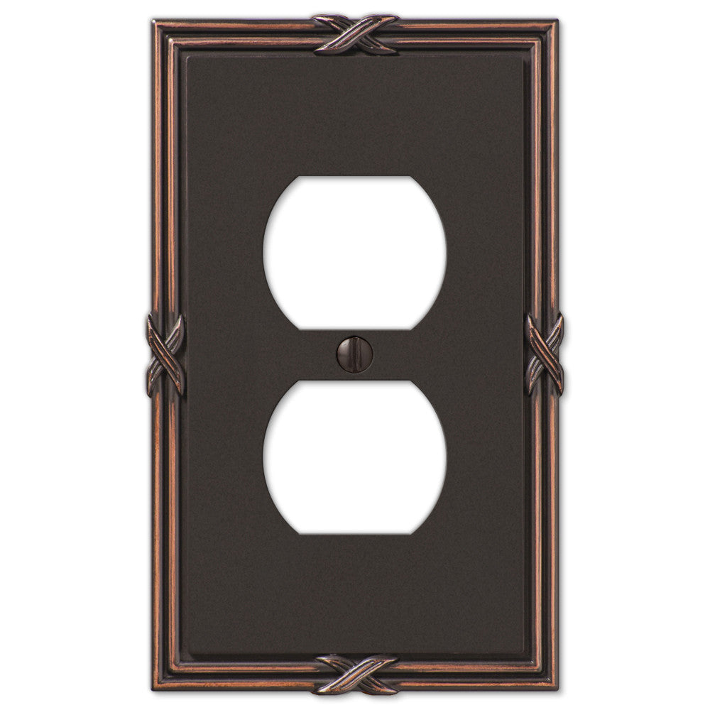 Ribbon & Reed Aged Bronze Cast - 1 Duplex Outlet Wallplate - Wallplate Warehouse