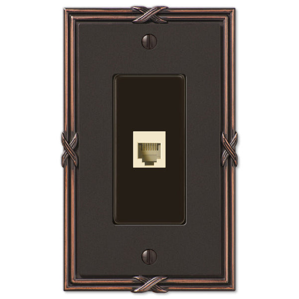 Ribbon & Reed Aged Bronze Cast - 1 Phone Jack Wallplate - Wallplate Warehouse