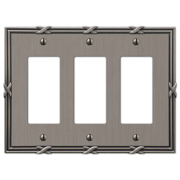 Ribbon & Reed Antique Nickel Cast - 3 Rocker Wallplate - Wallplate Warehouse