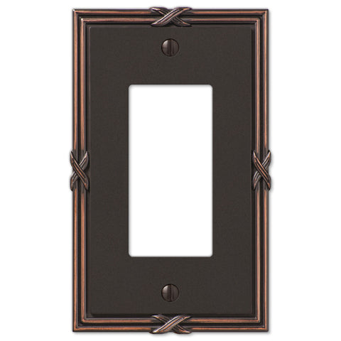 Ribbon & Reed Aged Bronze Cast - 1 Rocker Wallplate - Wallplate Warehouse