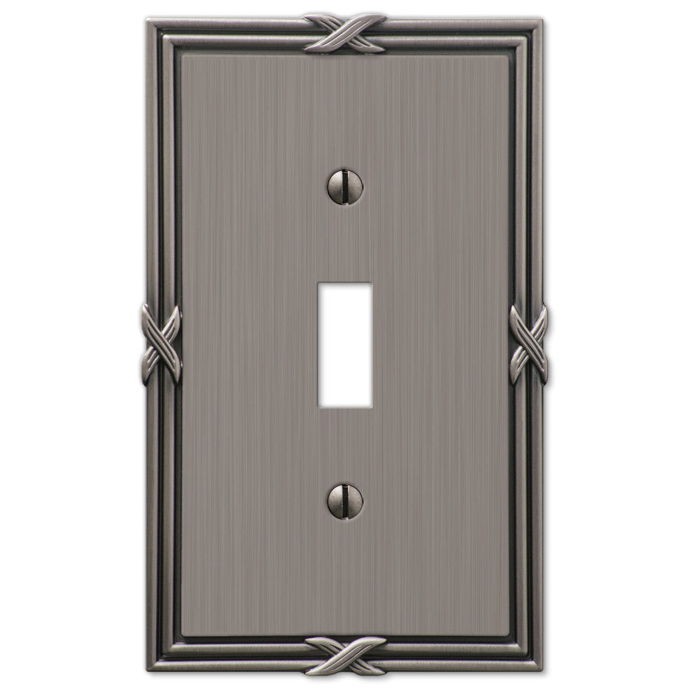 Ribbon & Reed Antique Nickel Cast - 1 Toggle Wallplate - Wallplate Warehouse