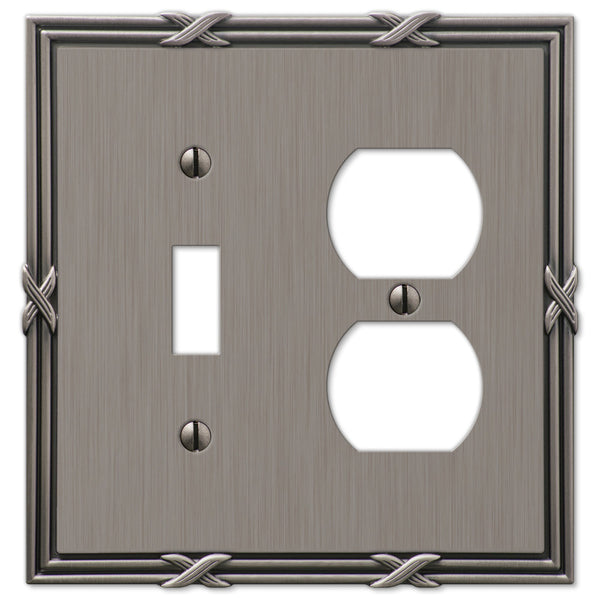 Ribbon & Reed Antique Nickel Cast - 1 Toggle / 1 Duplex Outlet Wallplate - Wallplate Warehouse