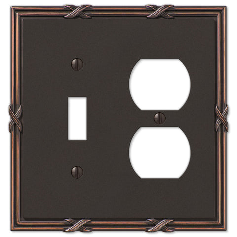Ribbon & Reed Aged Bronze Cast - 1 Toggle / 1 Duplex Outlet Wallplate - Wallplate Warehouse