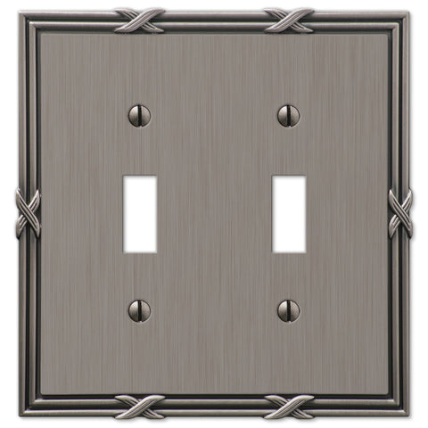 Ribbon & Reed Antique Nickel Cast - 2 Toggle Wallplate - Wallplate Warehouse