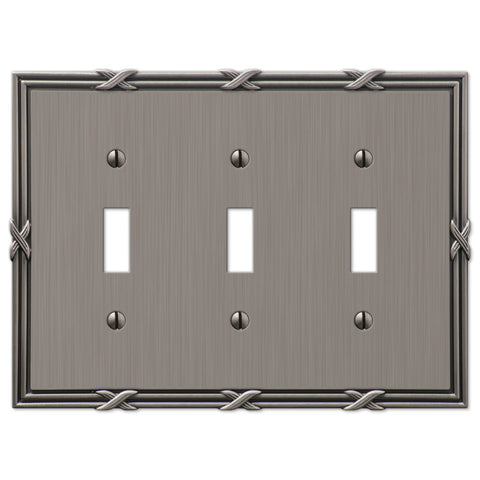 Ribbon & Reed Antique Nickel Cast - 3 Toggle Wallplate - Wallplate Warehouse