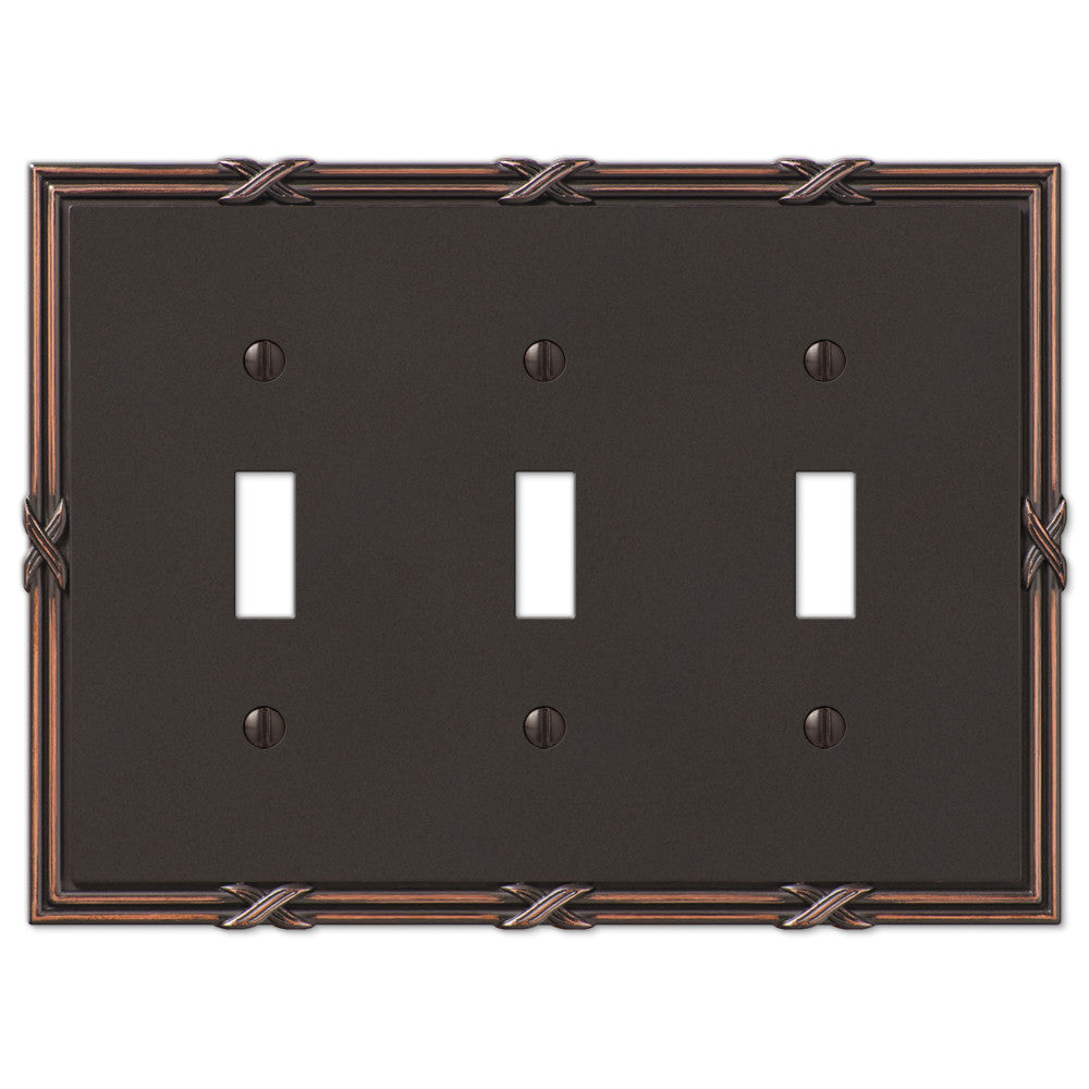 Ribbon & Reed Aged Bronze Cast - 3 Toggle Wallplate - Wallplate Warehouse