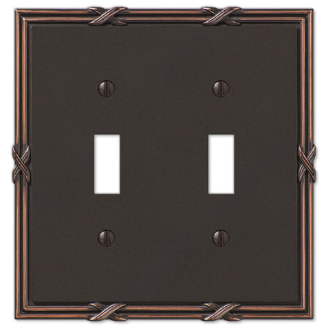 Ribbon & Reed Aged Bronze Cast - 2 Toggle Wallplate - Wallplate Warehouse