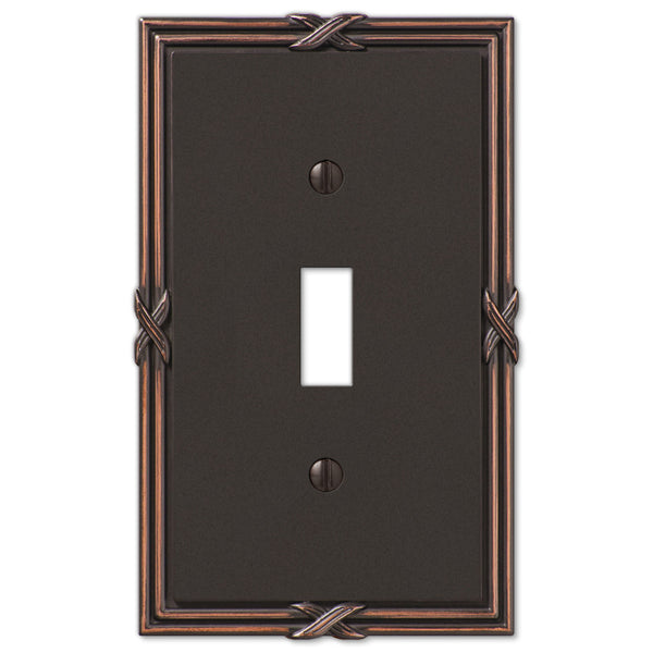 Ribbon & Reed Aged Bronze Cast - 1 Toggle Wallplate - Wallplate Warehouse