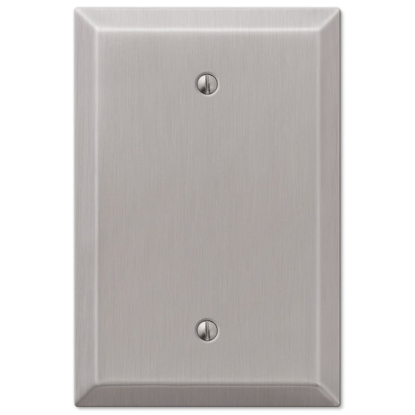 Oversized Brushed Nickel Steel - 1 Blank Wallplate - Wallplate Warehouse