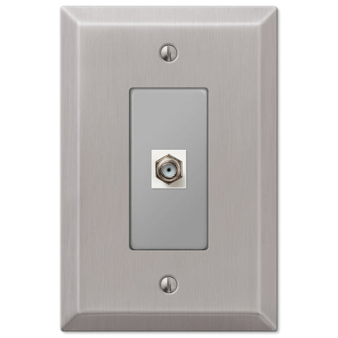 Oversized Brushed Nickel Steel - 1 Cable Jack Wallplate - Wallplate Warehouse