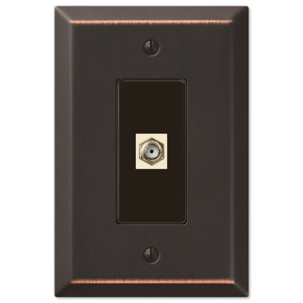 Oversized Aged Bronze Steel - 1 Cable Jack Wallplate - Wallplate Warehouse