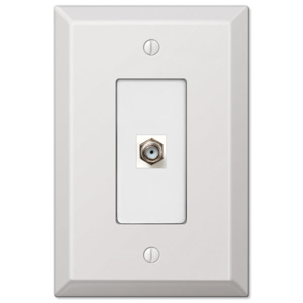 Oversized White Steel - 1 Cable Jack Wallplate - Wallplate Warehouse