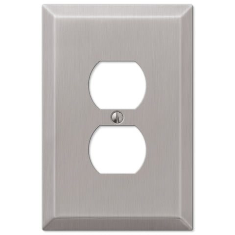Oversized Brushed Nickel Steel - 1 Duplex Outlet Wallplate - Wallplate Warehouse