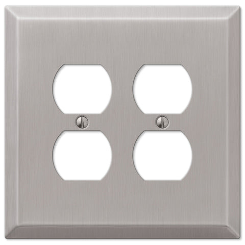 Oversized Brushed Nickel Steel - 2 Duplex Outlet Wallplate - Wallplate Warehouse