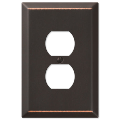 Oversized Aged Bronze Steel - 1 Duplex Outlet Wallplate - Wallplate Warehouse