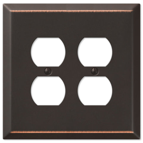 Oversized Aged Bronze Steel - 2 Duplex Outlet Wallplate - Wallplate Warehouse
