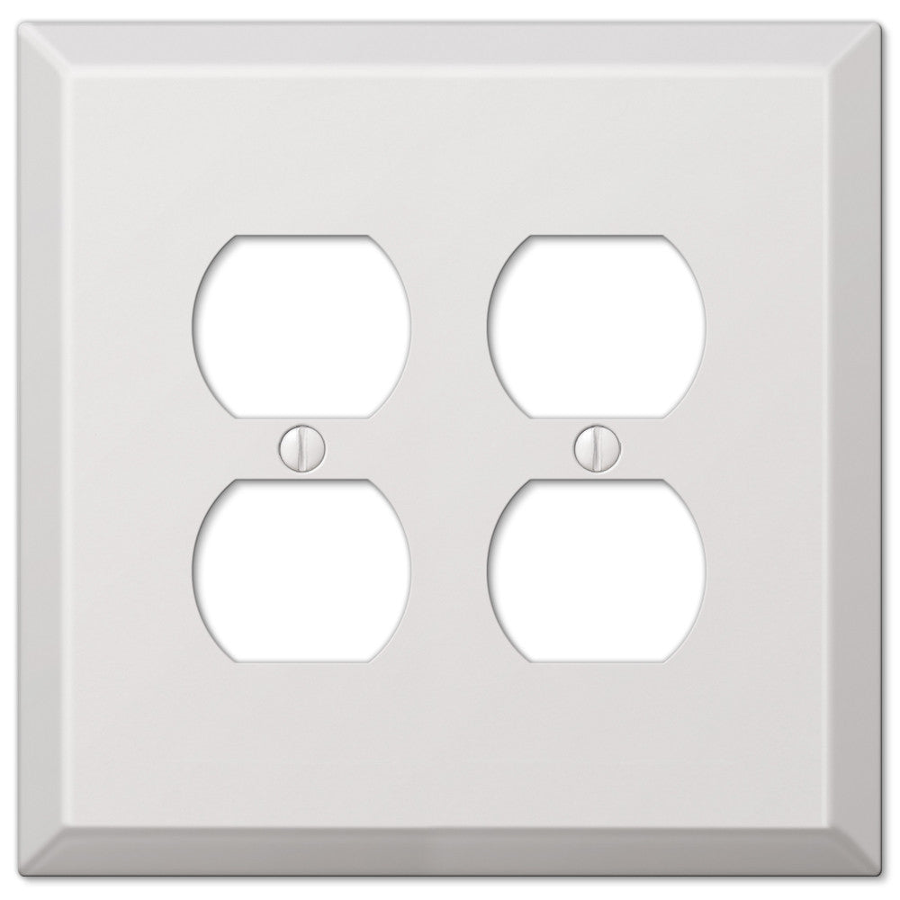 Oversized White Steel - 2 Duplex Outlet Wallplate - Wallplate Warehouse