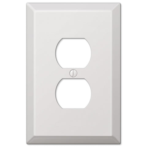 Oversized White Steel - 1 Duplex Outlet Wallplate - Wallplate Warehouse