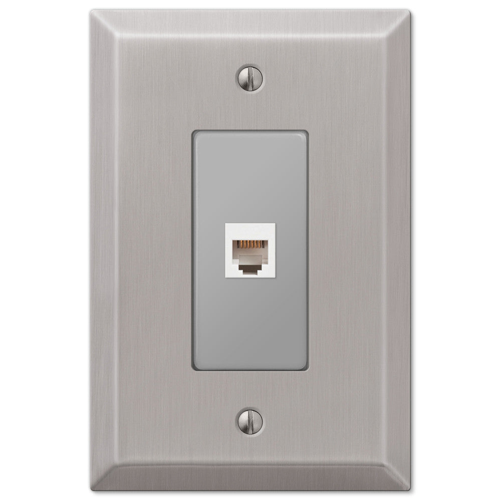 Oversized Brushed Nickel Steel - 1 Phone Jack Wallplate - Wallplate Warehouse