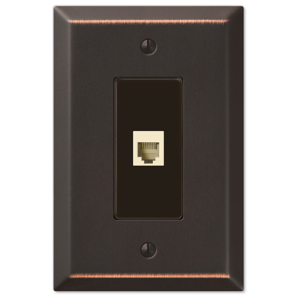 Oversized Aged Bronze Steel - 1 Phone Jack Wallplate - Wallplate Warehouse