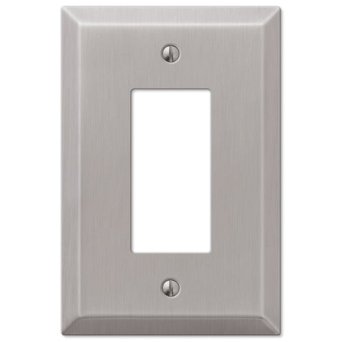 Oversized Brushed Nickel Steel - 1 Rocker Wallplate - Wallplate Warehouse