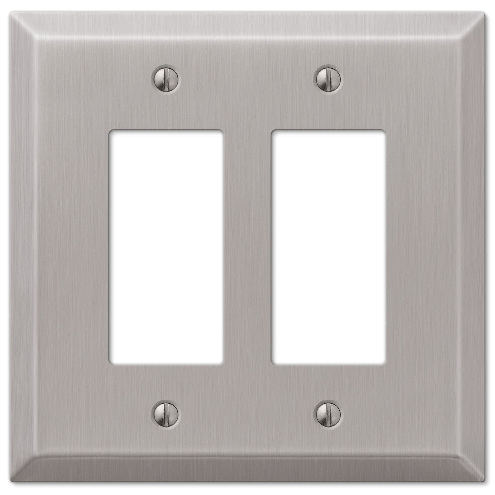 Oversized Brushed Nickel Steel - 2 Rocker Wallplate - Wallplate Warehouse