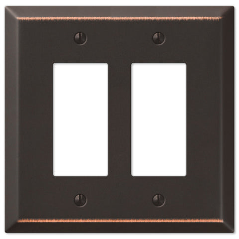 Oversized Aged Bronze Steel - 2 Rocker Wallplate - Wallplate Warehouse