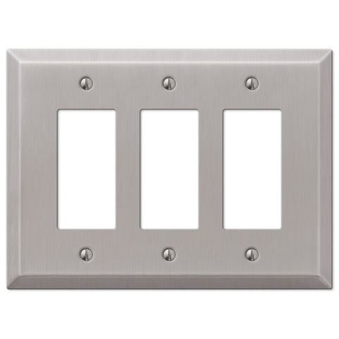 Oversized Brushed Nickel Steel - 3 Rocker Wallplate - Wallplate Warehouse