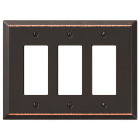 Oversized Aged Bronze Steel - 3 Rocker Wallplate - Wallplate Warehouse