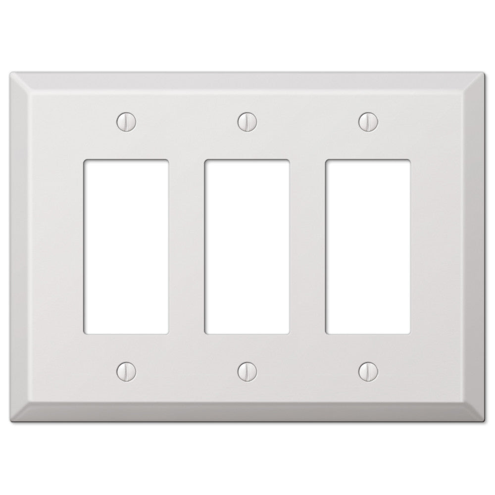Oversized White Steel - 3 Rocker Wallplate - Wallplate Warehouse