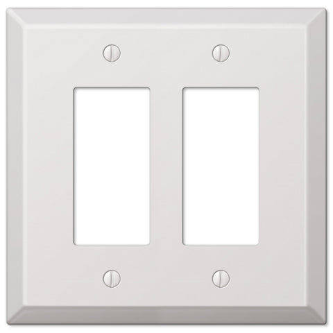 Oversized White Steel - 2 Rocker Wallplate - Wallplate Warehouse