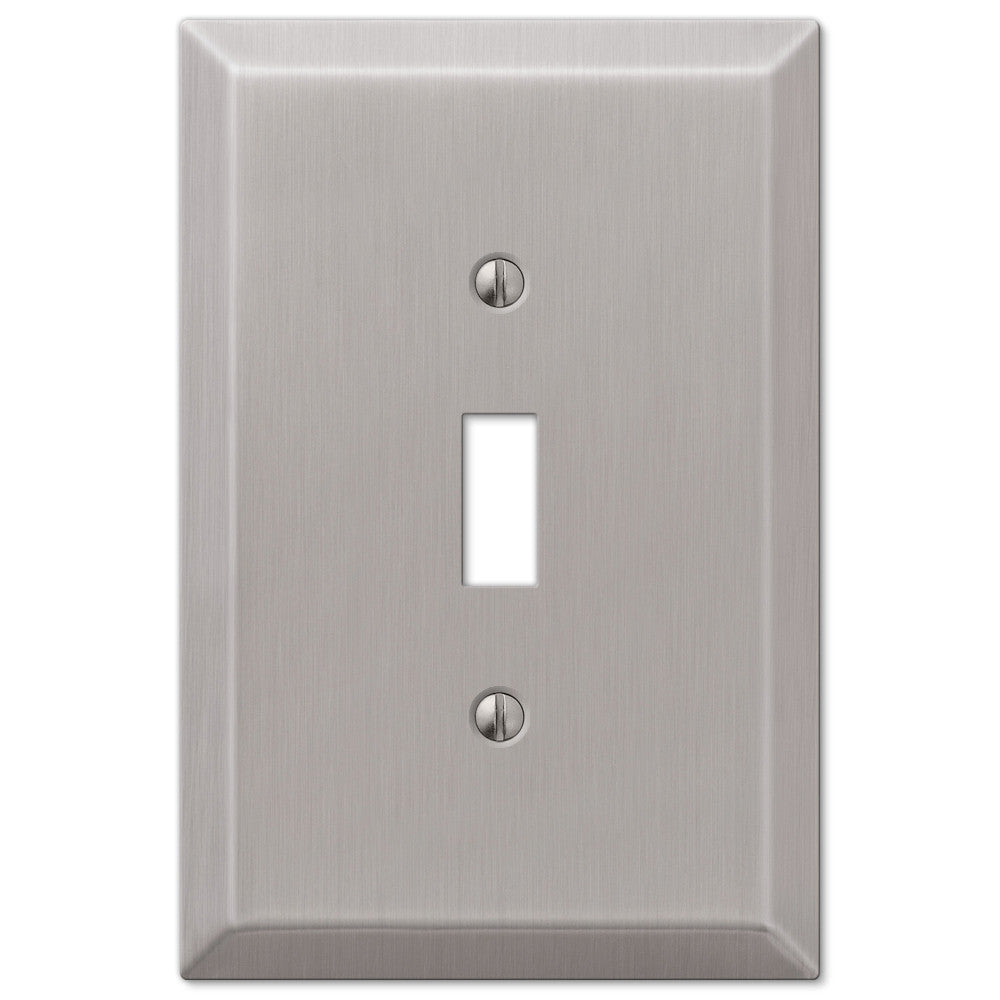 Oversized Brushed Nickel Steel - 1 Toggle Wallplate - Wallplate Warehouse