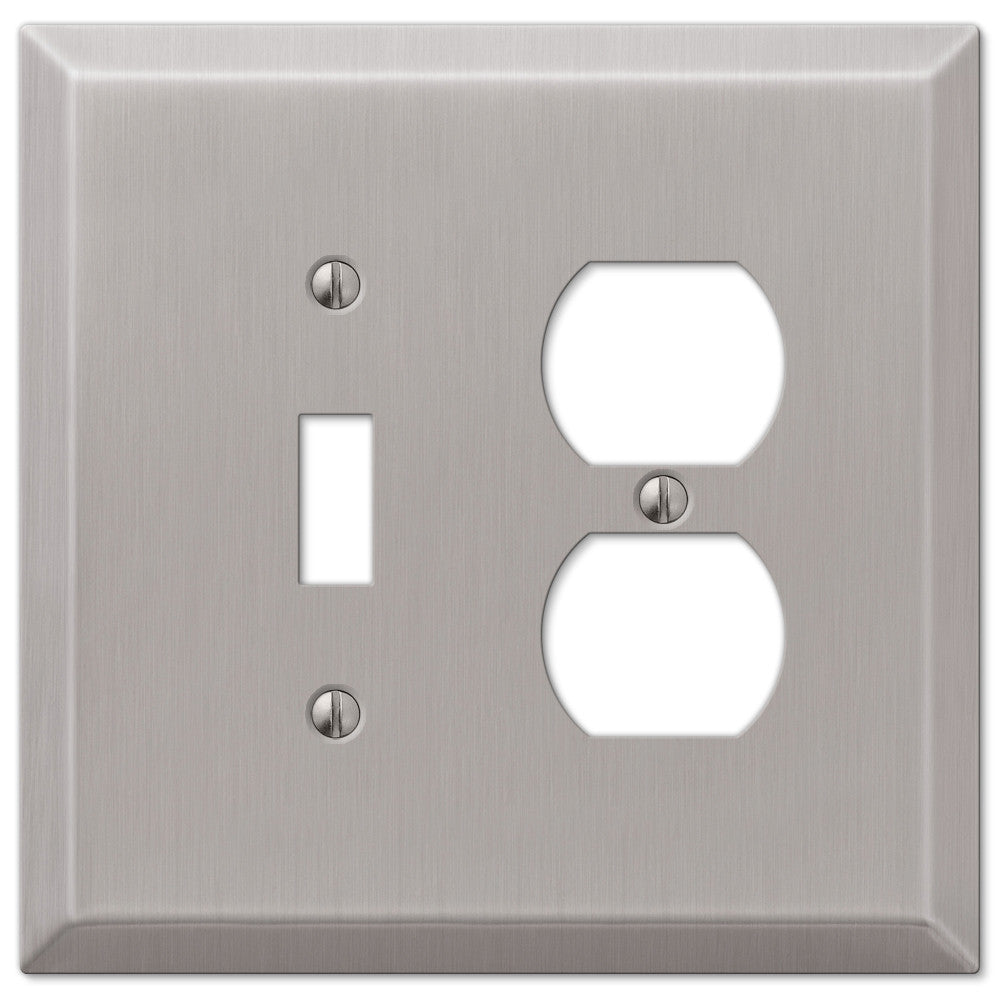 Oversized Brushed Nickel Steel - 1 Toggle / 1 Duplex Outlet Wallplate - Wallplate Warehouse