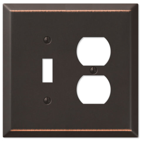 Oversized Aged Bronze Steel - 1 Toggle / 1 Duplex Outlet Wallplate - Wallplate Warehouse