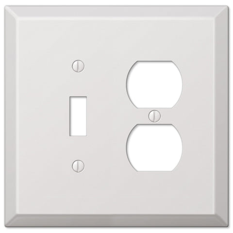 Oversized White Steel - 1 Toggle / 1 Duplex Outlet Wallplate - Wallplate Warehouse