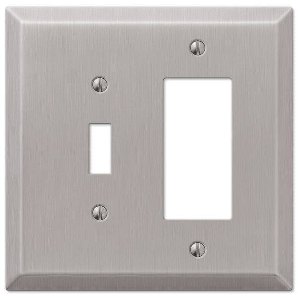 Oversized Brushed Nickel Steel - 1 Toggle / 1 Rocker Wallplate - Wallplate Warehouse