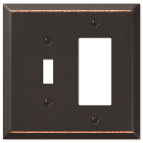 Oversized Aged Bronze Steel - 1 Toggle / 1 Rocker Wallplate - Wallplate Warehouse