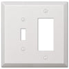 Oversized White Steel - 1 Toggle / 1 Rocker Wallplate - Wallplate Warehouse