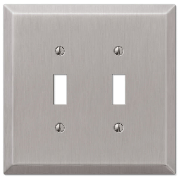 Oversized Brushed Nickel Steel - 2 Toggle Wallplate - Wallplate Warehouse