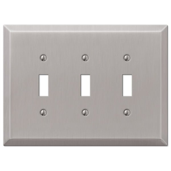 Oversized Brushed Nickel Steel - 3 Toggle Wallplate - Wallplate Warehouse