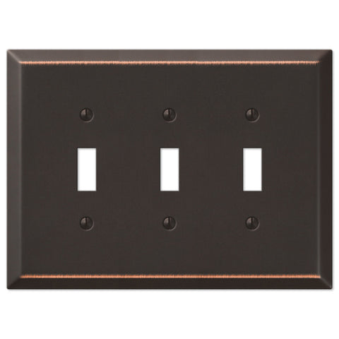 Oversized Aged Bronze Steel - 3 Toggle Wallplate - Wallplate Warehouse