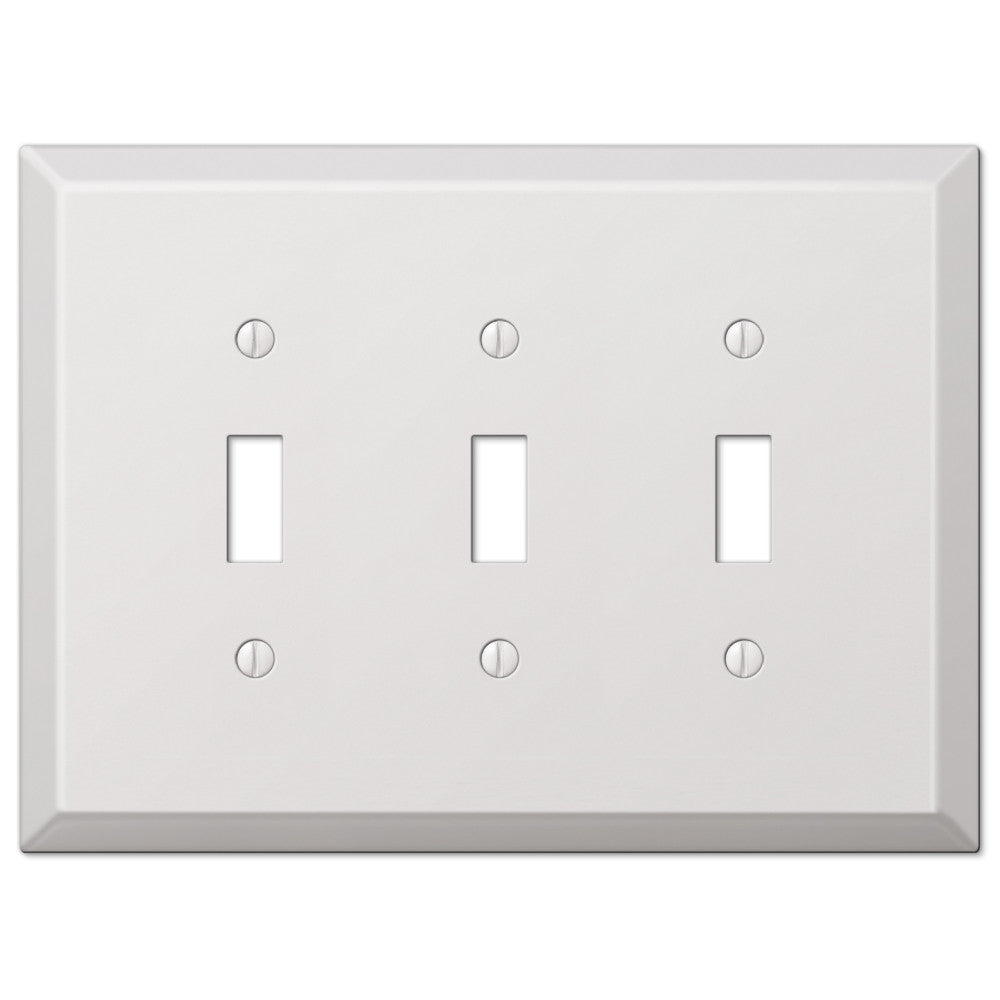 Oversized White Steel - 3 Toggle Wallplate - Wallplate Warehouse