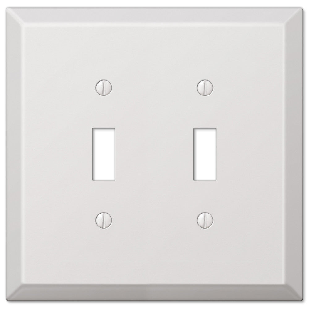 Oversized White Steel - 2 Toggle Wallplate - Wallplate Warehouse