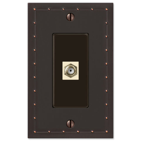 Rosa Aged Bronze Cast - 1 Cable Jack Wallplate - Wallplate Warehouse
