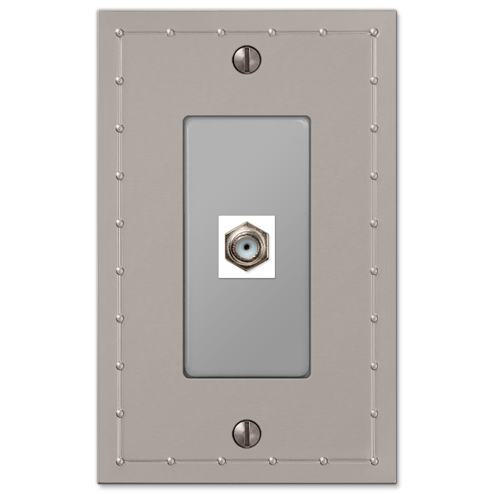 Rosa Satin Nickel Cast - 1 Cable Jack Wallplate - Wallplate Warehouse