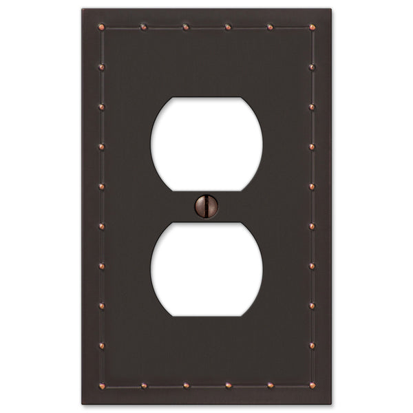 Rosa Aged Bronze Cast - 1 Duplex Outlet Wallplate - Wallplate Warehouse
