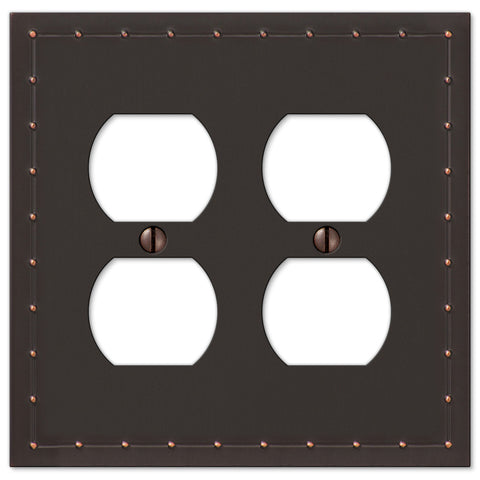 Rosa Aged Bronze Cast - 2 Duplex Outlet Wallplate - Wallplate Warehouse