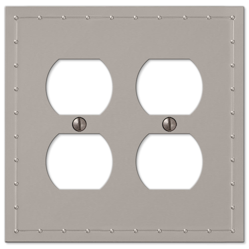 Rosa Satin Nickel Cast - 2 Duplex Outlet Wallplate - Wallplate Warehouse