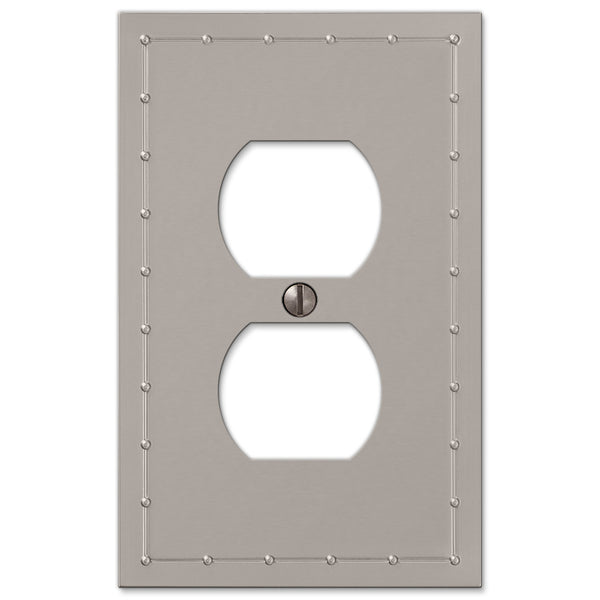 Rosa Satin Nickel Cast - 1 Duplex Outlet Wallplate - Wallplate Warehouse